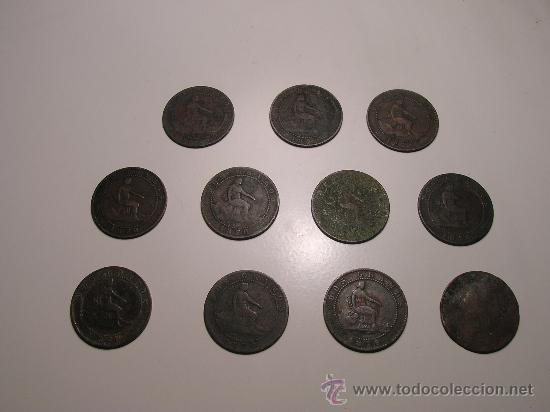 LOTE DE ONCE MONEDAS DE 2 CÉNTIMOS DE COBRE DEL GOBIERNO PROVISIONAL 1870 (Numismática - España Modernas y Contemporáneas - De Isabel II (1.834) a Alfonso XIII (1.931))