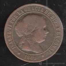 Monedas de España: ISABEL II. 5 CENTIMOS DE ESCUDO. BARCELONA. 1868.. Lote 34034700