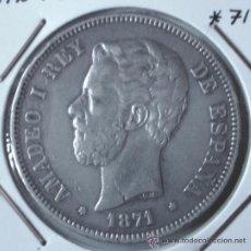 Monedas de España: AMADEO I 5 PESETAS 1871*71 VARIANTE SIN PUNTO EN KILO Y RALLAS AL LADO DE LA OREJA VER FOTOS . Lote 34285805