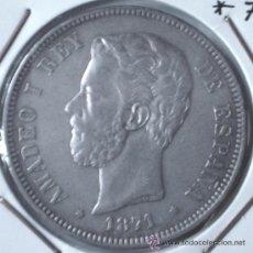 Monedas de España: AMADEO I 5 PESETAS 1871*71 VARIANTE COLUMNA ESTRECHA VER FOTOS. Lote 34285815