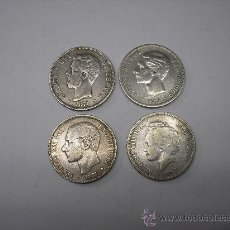 Monedas de España: LOTE DE 4 MONEDAS DE PLATA DE 5 PESETAS , CARAS DIFERENTES. Lote 34553350