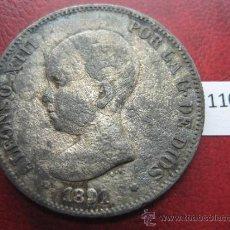 Monedas de España: ESPAÑA , 5 PESETAS , DURO , 1891 PGM FALSA DE EPOCA EN CALAMINA , ALFONSO XII , 12, FALSO. Lote 34592614