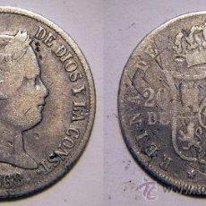 Monedas de España: 20 CENTIMOS DE PESO 1868 ISABEL II FILIPINAS PLATA . Lote 34897170