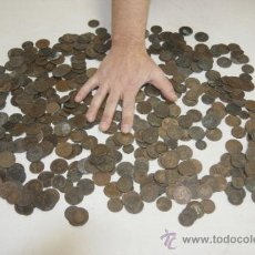 Monedas de España: GRAN LOTE DE 525 MONEDAS DE COBRE ESPAÑOLAS DE S.XIX. Lote 35180691