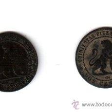 Monedas de España: DOS MONEDAS DE DOS CENTIMOS DEL AÑO 1870, . Lote 35431043