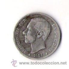 Monedas de España: ALFONSO XII POR LA GRACIA DE DIOS UNA PESETA PLATA MADRID SN M 1881-81. Lote 35951825
