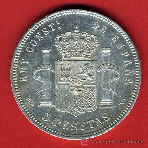 Monedas de España: MONEDA 5 PESETAS ALFONSO XIII ,1894 , ESTRELLAS 18-94 , EBC+ , DURO PLATA , ORIGINAL , M1070 - Foto 2 - 36663698