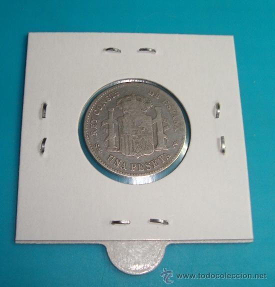 Monedas de España: MONEDA DE PLATA UNA PESETA, ESPAÑA 1901, SMV, ALFONSO XIII - Foto 2 - 36721844
