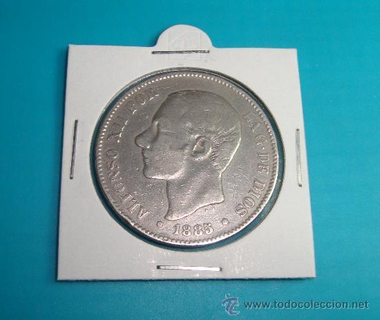 MONEDA DE PLATA CINCO PESETAS ESPAÑA 1885 MSM ALFONSO XII (Numismática - España Modernas y Contemporáneas - De Isabel II (1.834) a Alfonso XIII (1.931))