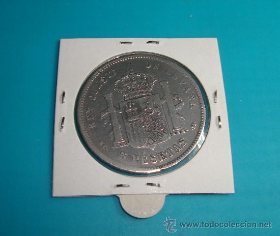 Monedas de España: MONEDA de plata CINCO PESETAS ESPAÑA año 1890, MPM, ALFONSO XIII, - Foto 2 - 36732953