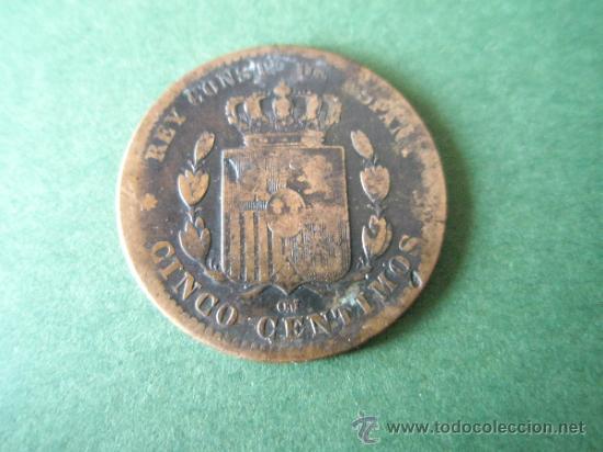 *MONEDA DE ESPAÑA-CINCO CENTIMOS-1878-COBRE-21 MM.D-. (Numismática - España Modernas y Contemporáneas - De Isabel II (1.834) a Alfonso XIII (1.931))