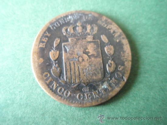 Monedas de España: *MONEDA DE ESPAÑA-CINCO CENTIMOS-1878-COBRE-21 mm.D-. - Foto 2 - 36855970