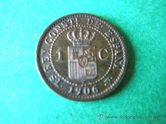 -MONEDA DE ESPAÑA-1 CÉNTIMO-ALFONSO XIII-1906*6-COBRE-. (Numismática - España Modernas y Contemporáneas - De Isabel II (1.834) a Alfonso XIII (1.931))