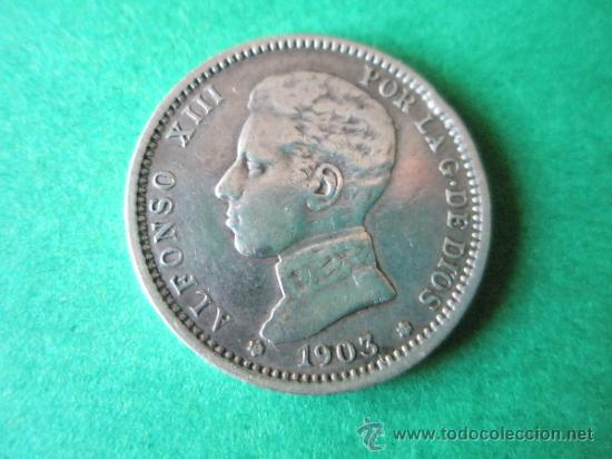 -MONEDA DE ESPAÑA-1 PESETA-PLATA-1903*03-ALFONSO XIII-SMV-. (Numismática - España Modernas y Contemporáneas - De Isabel II (1.834) a Alfonso XIII (1.931))