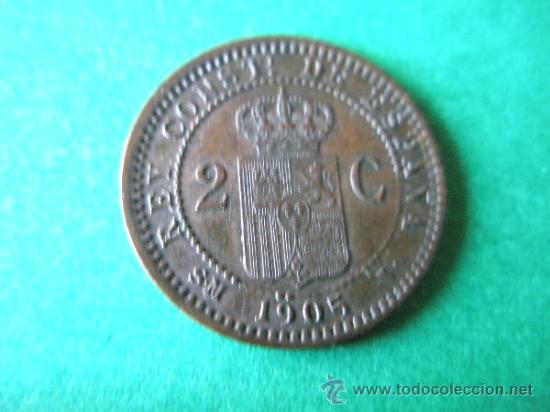 Monedas de España: -MONEDA DE ESPAÑA-2 CENTIMOS-1905 *05--ALFONSO XIII-COBRE-20 mm.D-. - Foto 2 - 36910101