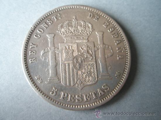 Monedas de España: MONEDA DE ESPAÑA-5 PESETAS-1877*78-ALFONSO XII-. - Foto 2 - 37016695