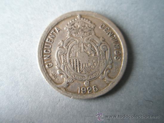 Monedas de España: -MONEDA DE ESPAÑA-50 CENTIMOS-1926-ALFONSO XIII-19 mm.D-PLATA-. - Foto 2 - 36919865