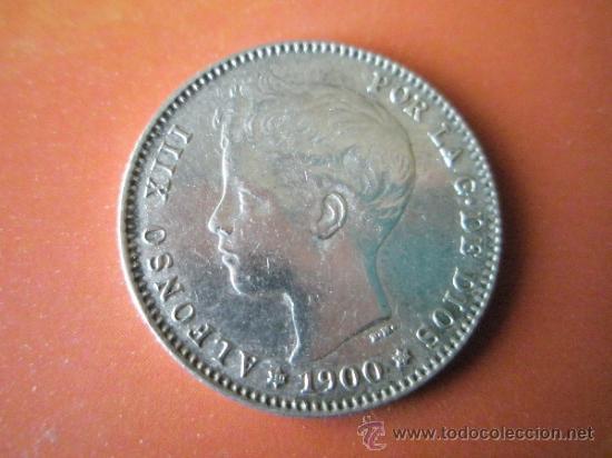 AªMONEDA-ESPAÑA-1 PESETA ALFONSO XIII-1900*00-PLATA-24 MM.D-BUEN ESTADO-VER FOTOS.. (Numismática - España Modernas y Contemporáneas - De Isabel II (1.834) a Alfonso XIII (1.931))