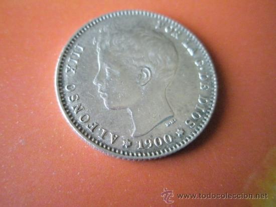 Monedas de España: AªMONEDA-ESPAÑA-1 PESETA ALFONSO XIII-1900*00-PLATA-24 mm.D-BUEN ESTADO-VER FOTOS.. - Foto 2 - 37074935