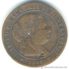 Monedas de España: 2 1/2 CÉNTIMOS DE ESCUDO. ISABEL II. 1868. JUBIA. COBRE. Lote 37183791