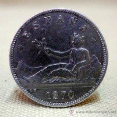 Monedas de España: MONEDA DE 2 PESETAS. PLATA. GOBIERNO PROVISIONAL. 1870. ESTRELLA 74. Lote 194666802