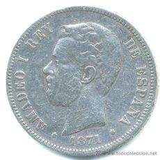 Monedas de España: 5 PESETAS AMADEO 1871. DURO DE PLATA. Lote 37287806