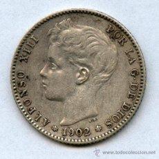 Monedas de España: EXTRAORDINARIA Y RARA EN ESTA CONSERVACIÓN. 1 PESETA ALFONSO XIII AÑO 1902-19-02. Lote 37355505