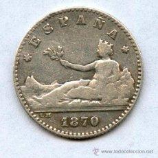 Monedas de España: 50 CENTIMOS DE PLATA AÑO 1870. Lote 37466360
