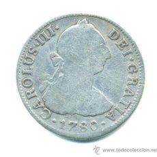 2 reales, Carlos III, 1780. Mexico. F F. Plata
