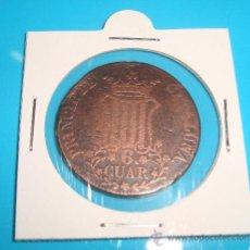 Monedas de España: MONEDA DE COBRE 6 CUAR PRINCIP. DE CATALUÑA ISABEL II 1836. Lote 37626361