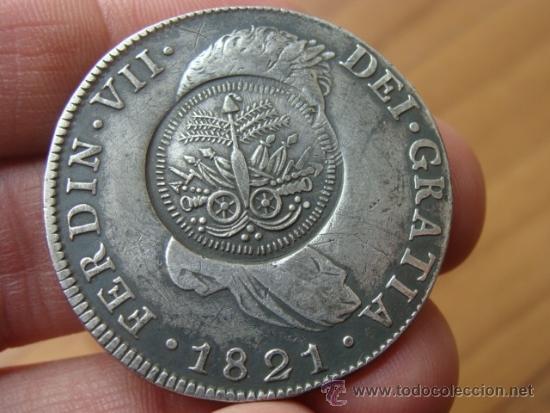 8 REALES DE FERNADO VII 1821 , G , GUATEMALA , RESELLADO DE HAITI , RESELLO (Numismática - España Modernas y Contemporáneas - De Reyes Católicos (1.474) a Fernando VII (1.833))