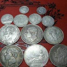 Monedas de España: COLECCIÓN DE 12 MONEDAS DE PLATA ESPAÑOLAS DESDE EL SIGLO XIX HASTA MEDIADOS DEL XX - 170 GRAMOS. Lote 37748995