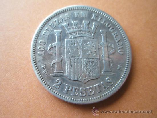 Monedas de España: MONEDA DE ESPAÑA-2 PESETAS-1870*75?-. - Foto 2 - 37960802