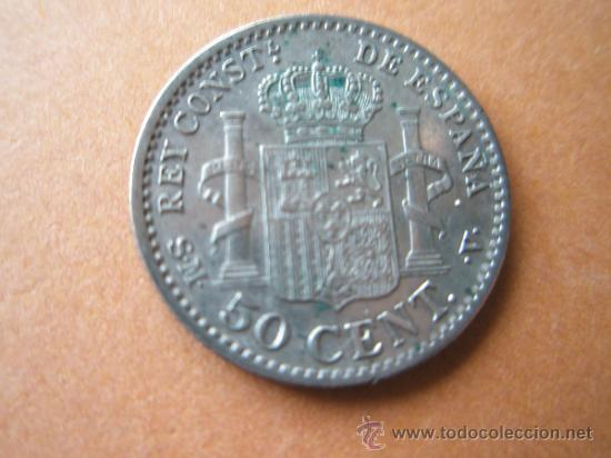 Monedas de España: -MONEDA DE ESPAÑA-50 CENTIMOS-ALFONSO XIII-1904-PLATA--. - Foto 3 - 37960239