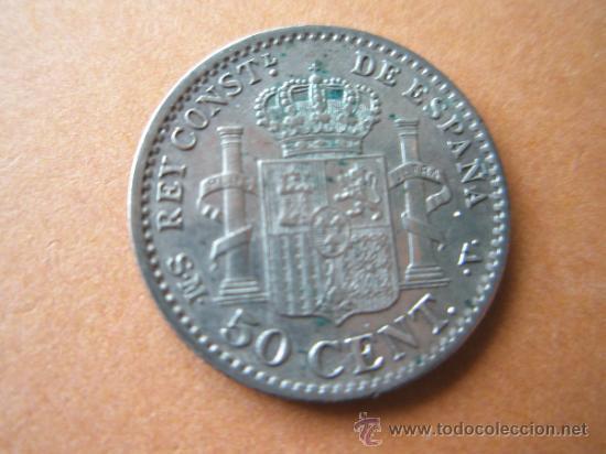 Monedas de España: -MONEDA DE ESPAÑA-50 CENTIMOS-ALFONSO XIII-1904-PLATA--. - Foto 2 - 37960239