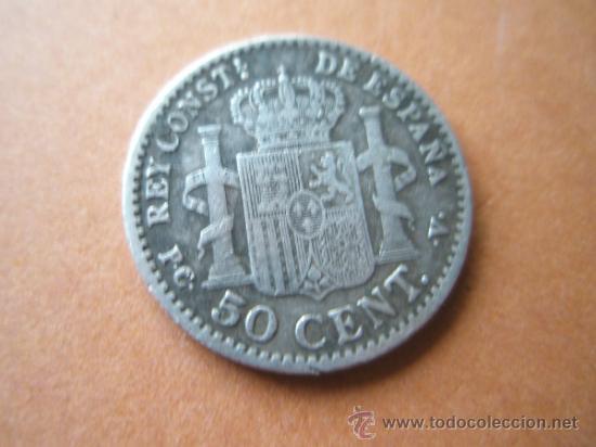 Monedas de España: -MONEDA DE ESPAÑA-50 CENTIMOS-ALFONSO XIII-PLATA-1910*1*0-18 MM.D-. - Foto 2 - 37954808