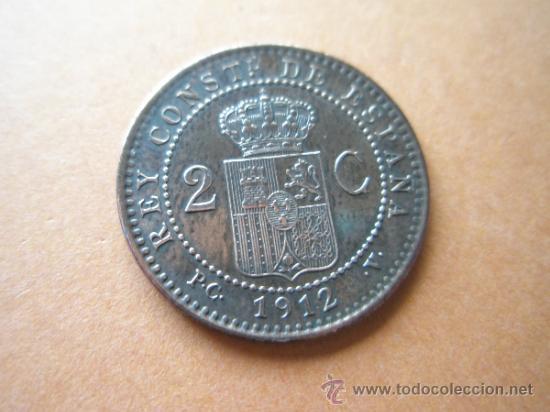 Monedas de España: -MONEDA DE ESPAÑA-2 CENTIMOS-ALFONSO XIII-1912*12-COBRE-PERFECTA-. - Foto 2 - 37955675
