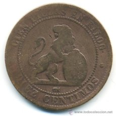 Monedas de España: 10 CÉNTIMOS 1870, REPÚBLICA, COBRE. Lote 37967037