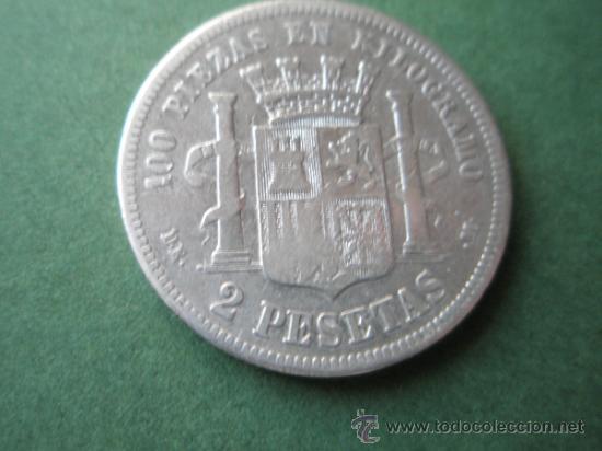 Monedas de España: -MONEDA DE ESPAÑA-2 PESETAS-PLATA-1870*73-DE.M--. - Foto 3 - 37972680