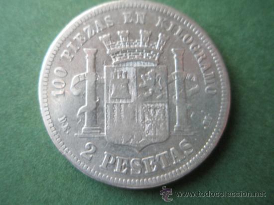 Monedas de España: -MONEDA DE ESPAÑA-2 PESETAS-PLATA-1870*73-DE.M--. - Foto 4 - 37972680