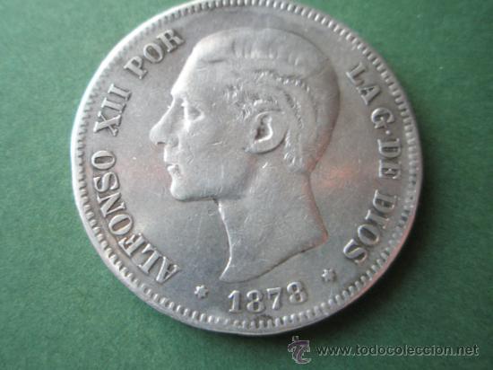 Monedas de España: -MONEDA DE ESPAÑA-5 PESETAS-ALFONSO XII-1878*18*78-E.M.M.- Y DESCRIPCION. - Foto 2 - 37972401