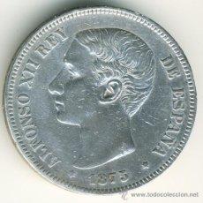 Monedas de España: 5 PESETAS ALFONSO XII. 1875. PLATA. . Lote 38298312