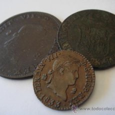 Monedas de España: ESPAÑA. 1818 JUBIA 8 MARAVEDÍS; 1823 BARCELONA 3 CUARTOS; 1833 SEGOVIA 2 MARAVEDÍS. LOTE 3 MONEDAS... Lote 38650010