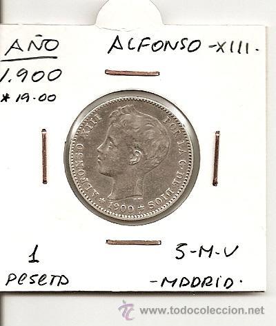 ESCASA MONEDA ALFONSO XIII 1900 (*19-00 LEGIBLES) MADRID SMV 1 PESETA 5GR-23MM. PLATA 835 MBC++ (Numismática - España Modernas y Contemporáneas - De Isabel II (1.834) a Alfonso XIII (1.931))