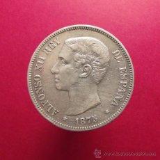 Monedas de España: 5 PESETAS DE PLATA 1875 DE M (AUTÉNTICA) - ALFONSO XII. ESTRELLAS POCO VISIBLES. Lote 39166757