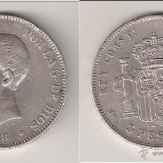 Monedas de España: MONEDA DE 5 PESETAS MSM DE ALFONSO XIII. MADRID. AÑO 1888 ESTRELLAS 18-88. PLATA. MBC+ ALF2. Lote 40570524