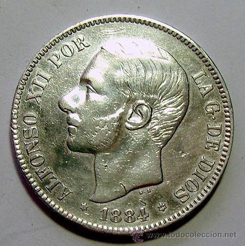 ALFONSO XII . 5 PESETAS 1884 . *18-84 . PLATA (Numismática - España Modernas y Contemporáneas - De Isabel II (1.834) a Alfonso XIII (1.931))