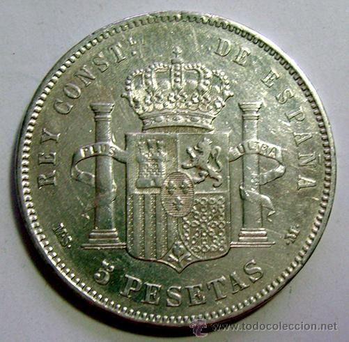 Monedas de España: ALFONSO XII . 5 PESETAS 1884 . *18-84 . PLATA - Foto 2 - 40647501