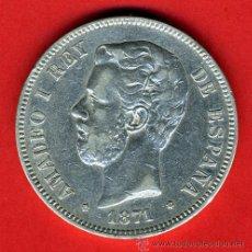 Monedas de España: MONEDA 5 PESETAS 1871 ,ESTRELLAS 18-74 , MBC+ , AMADEO I , DURO DE PLATA , D1318. Lote 41039545