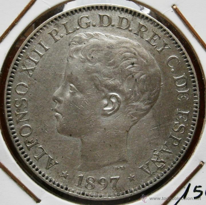 ALFONSO XIII 1897 UN PESO ISLAS FILIPINAS VER FOTOS (Numismática - España Modernas y Contemporáneas - De Isabel II (1.834) a Alfonso XIII (1.931))